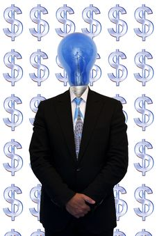 Businessman And The Symbol Of The Money Stock Photography