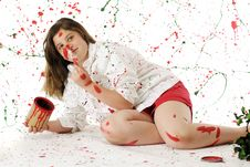Free Painting Herself Christmas Stock Photo - 20937440
