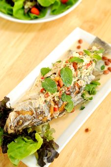 Fried Fish With Spicy Sauce Royalty Free Stock Image
