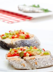 Hake Fillets With Peppers Stock Photos