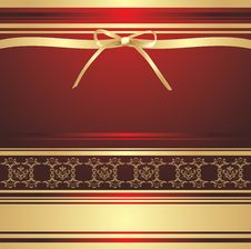 Free Golden Bow On The Decorative Background. Wrapping Stock Images - 20938894