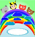 Free Cute Kid And Animals Viewing Rainbow Royalty Free Stock Photos - 20944538