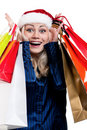 Free Christmas Woman With Shopping Bags Royalty Free Stock Photography - 20944937