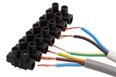 Electrical Cables And Connector Block Royalty Free Stock Image