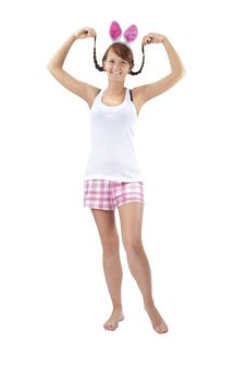 Free Beautiful Young Woman In Pink Shorts Royalty Free Stock Photography - 20942827