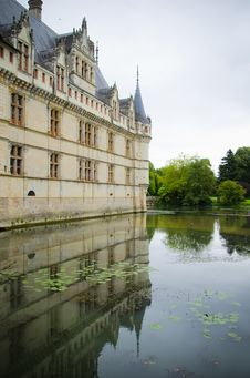 Azay Le Rideau Castle Reflected In The Water Stock Image