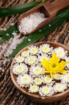 Free Spa Set With Sea Salt And Flowers Stock Photo - 20946270