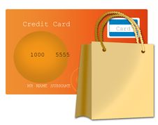 Free Credit Card And Shopping Bag Royalty Free Stock Photos - 20946868