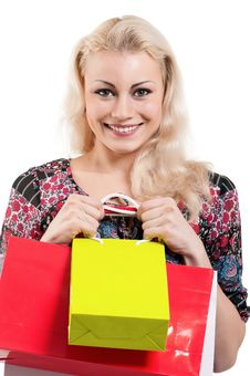 Free Woman With Shopping Bags Stock Photography - 20947382