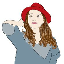 Girl With Red Hat Stock Image