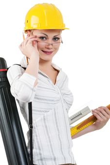 Girl With Hard Hat Stock Images
