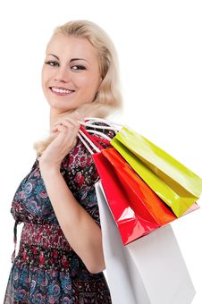 Free Woman With Shopping Bags Royalty Free Stock Photos - 20947548