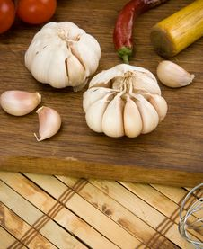 Set Of Garlic And Spice Stock Images