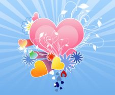 Pink Hearts On The Sunburst Background Royalty Free Stock Image