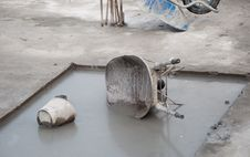 Wheelbarrow And Bucket Royalty Free Stock Photos