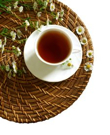 Free Cup Of Tea And Chamomiles Isolated On White Royalty Free Stock Image - 20953026