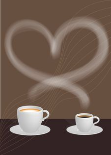 Two Cups Of Coffee And Heart Stock Photography