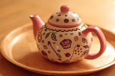 Free Pink Teapot On Tray Stock Image - 20953691