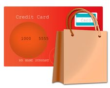 Credit Card And Shopping Bag Royalty Free Stock Image