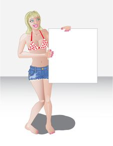 Free Swimsuit Girl Holding Sign Royalty Free Stock Image - 20957186