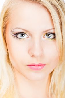 Young Beautiful Blonde Woman With Stylish Make-up Stock Photo