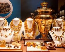 Free Russian Gold Samovar In Show-window Stock Image - 20957861
