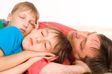 Dad And Sons Sleeping Royalty Free Stock Photo