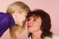 Daughter With Mom Stock Images