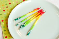 Free Birthday Candles On Plate Royalty Free Stock Image - 20958236