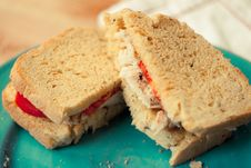 Fresh Turkey Sandwich On A Blue Plate Royalty Free Stock Image