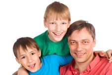 Dad With Sons Royalty Free Stock Photo