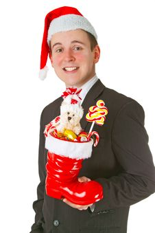 Free Business Man With A Christmas Stocking Stock Image - 20959091