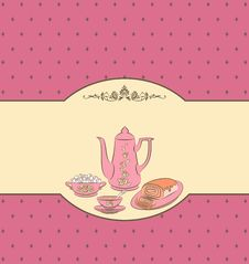 Free Vintage Tea Set And Sweet Cakes. Royalty Free Stock Photos - 20959708