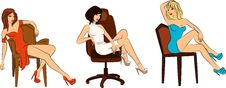 Beautiful Woman Sits On A Chair