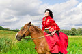 Free Beautiful Gypsy Girl Riding A Horse Stock Photo - 20967350