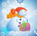 Free Background With Snowman, Gift  And Snow Stock Photos - 20969493