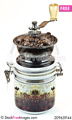 Free Coffee Mill Isolated On White Background Stock Images - 20965944
