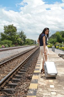 Woman Leaving Travels From There With Her Luggage Stock Images