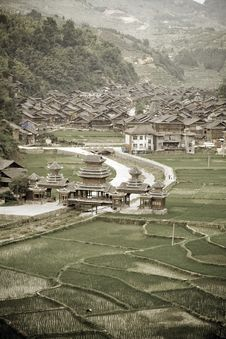 Free Aged Image Of Zhaoxing Dong Village Royalty Free Stock Photo - 20961435