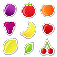 Free Collection On Fruit Stickers Royalty Free Stock Photos - 20961708