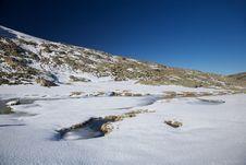 Iced Lake At Gredos Mountains Stock Photos