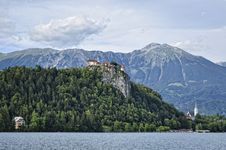 Castle Above The Lake Stock Photography