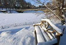 Wooden Bench After Snow Storm Stock Photos