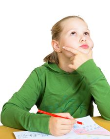 Free Little Girl Dreaming At The Table Stock Photography - 20964022