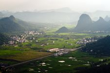 Free Aerial View Image Of Yangshuo Village Royalty Free Stock Photos - 20964998