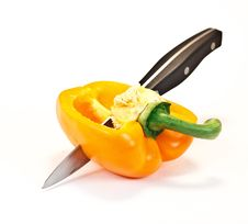 Free Cut Yellow Paprika With Knife Stock Photos - 20965883