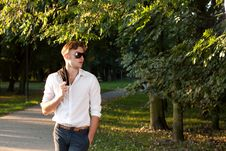 Free Man In Walking In The Park At Sunrise Royalty Free Stock Photography - 20965917