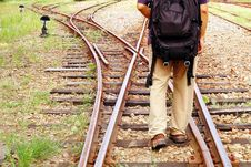 Railway And Traveler Stock Images