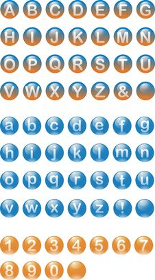 Alphabetic Buttons In Spheres Stock Photo