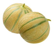 Free Two Melons  Cantaloup , Isolated On White Stock Images - 20970524